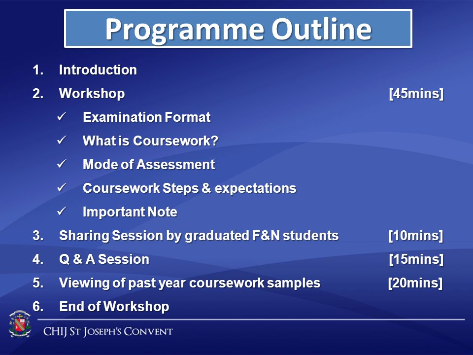 Programme Outline Introduction Workshop [45mins] Examination Format
